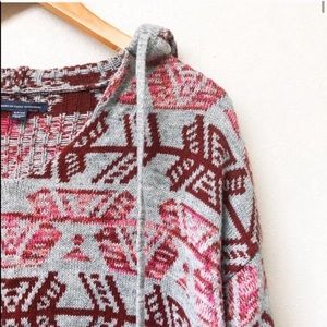 Gray & Pink Hooded Pullover Sweater